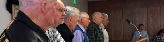 We salute the USMC. Marines who fought at the battle of Iwo Jima recognized: Don Whipple, Jim Blane, Jack Thurman, Al Jennings, Hiram Skeens, Tom Ramm (not in pictured order